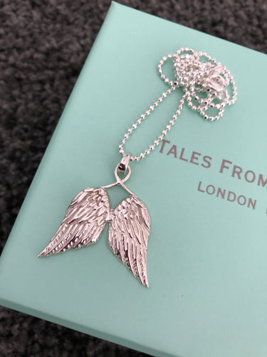 Large Guardian Angel Wings Necklace - Beau's Boutique