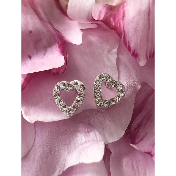 Sterling Silver Diamante Heart Earings