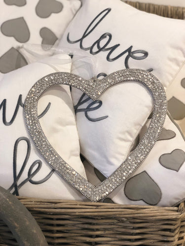 Silver Diamante Hanging Heart