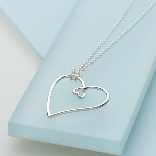 Sterling Silver Heart in Heart Necklace