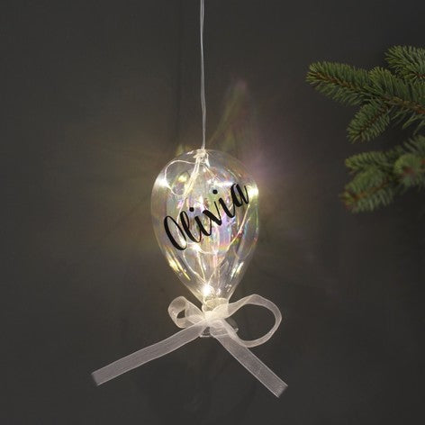 Personalised Small Iridescent LED Glass Balloon Light - Beau's Boutique