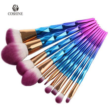 10 pcs/set Rainbow Unicorn Oval Makeup Brush Set