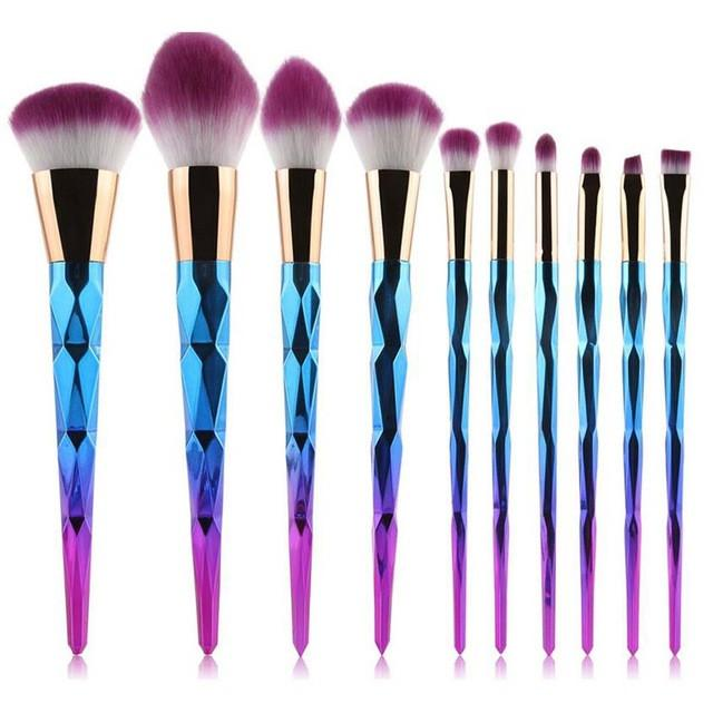 Rainbow Unicorn Oval Makeup Brush Set - 10 pcs/set