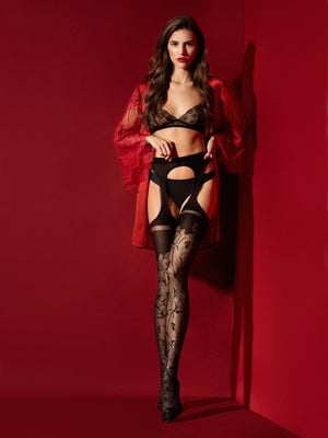 amorosa - Printed Fishnet Tights for girls - Sexy sheer - Erotic stockings for women - Valentin's day gift - Gift for her - Shop Leg Appeal
