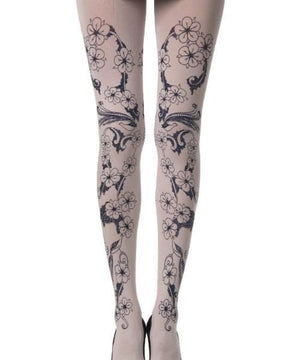 Celebration: Cream - Floral Tights - Women TIGHTS - Mesh stockings - Patterned Leggings - Valentine's day - Vday 2021 - Shop Leg Appeal