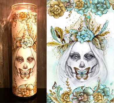Boho Butterfly Sugar Skull Scented Candle