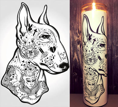 Bull Terrier, Flash Tattoo Art, Bull Terrier Art, Tattoo Art, Hipster, Dog Art, Home Decor,  Scented  Candle, Prayer Candle, Gift Idea,