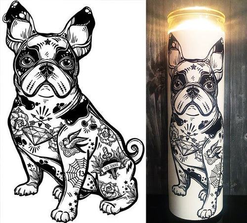 Boston Terrier, Boston Terrier Gift, Boston Terrier Art, Tattoo Art, Flash Tattoo, Home Decor,  Scented  Candle, Prayer Candle, Gift Idea,