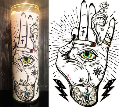Cannabis Art, Cannabis, 420 Gift Ideas, Tattoo Art, Weed Art, Home Decor, Scented  Candle, Prayer Candle, Candle, Gift Idea, Gifts for Him,