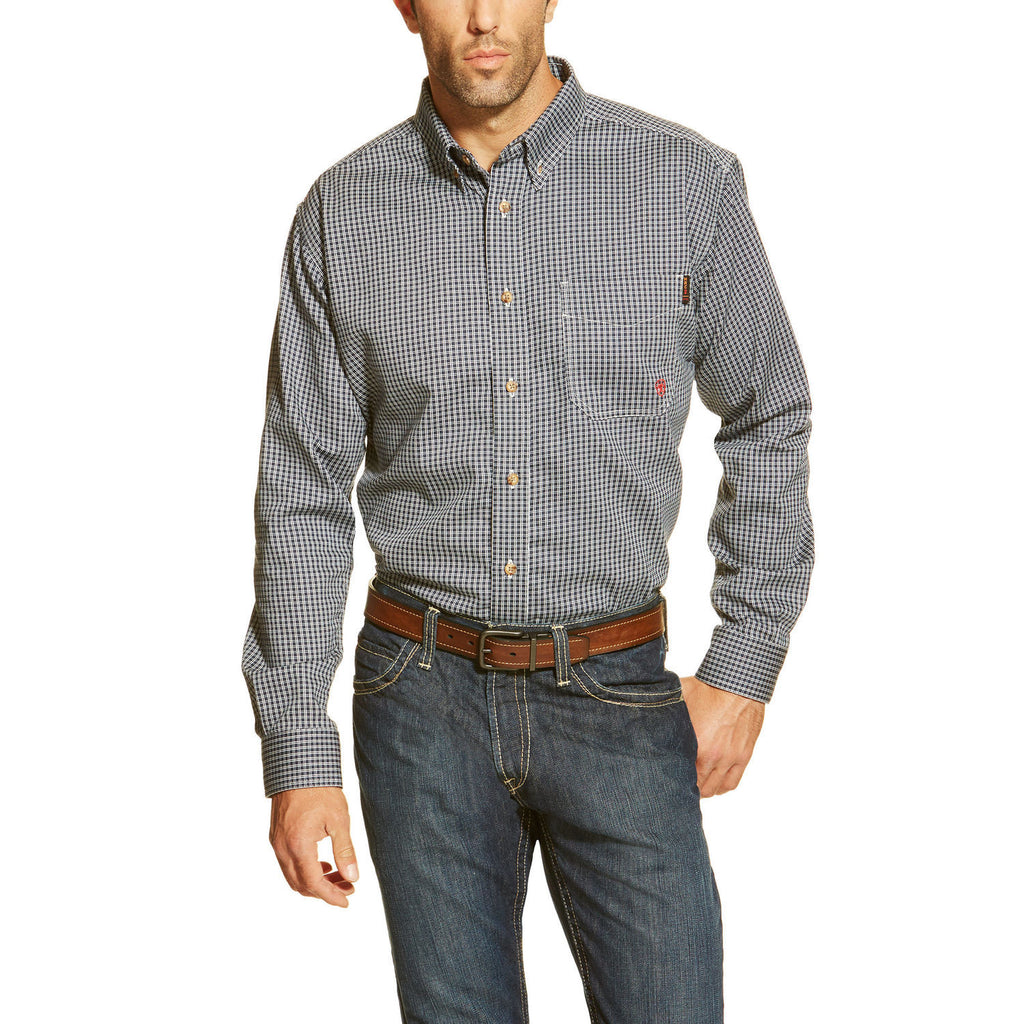 Ariat FR Blue Multi Plaid Work Shirt #10013513