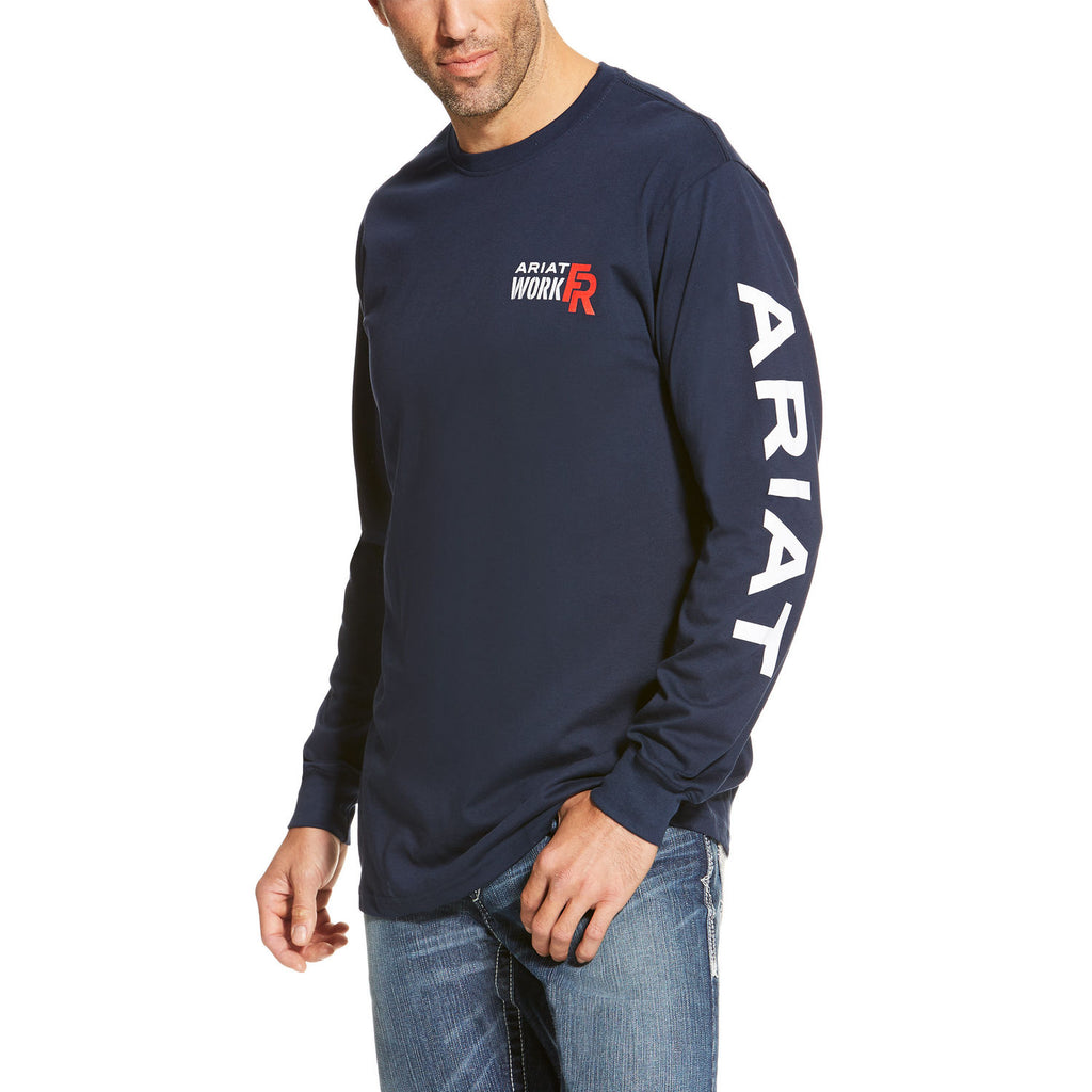 Ariat Men's FR Logo Crew Navy #10019053