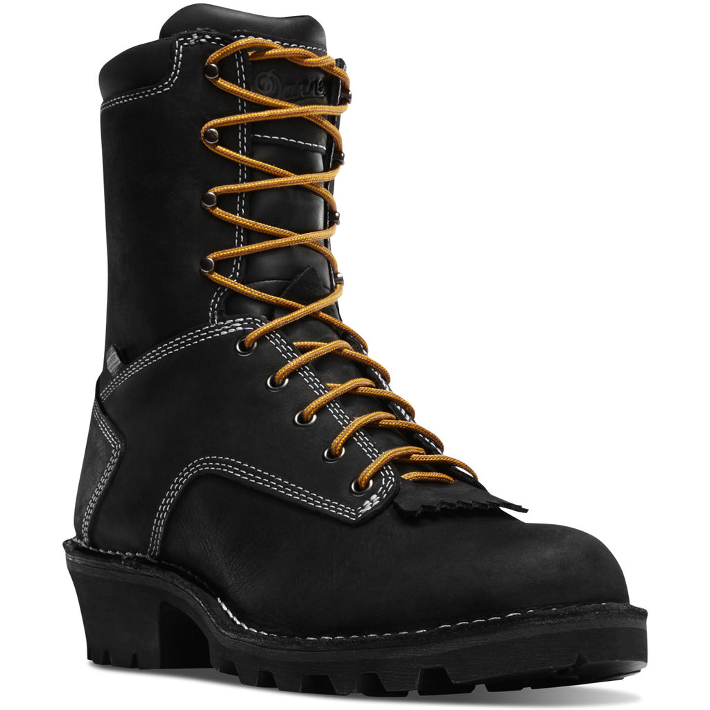 Black leather lace-up logger boot by Danner