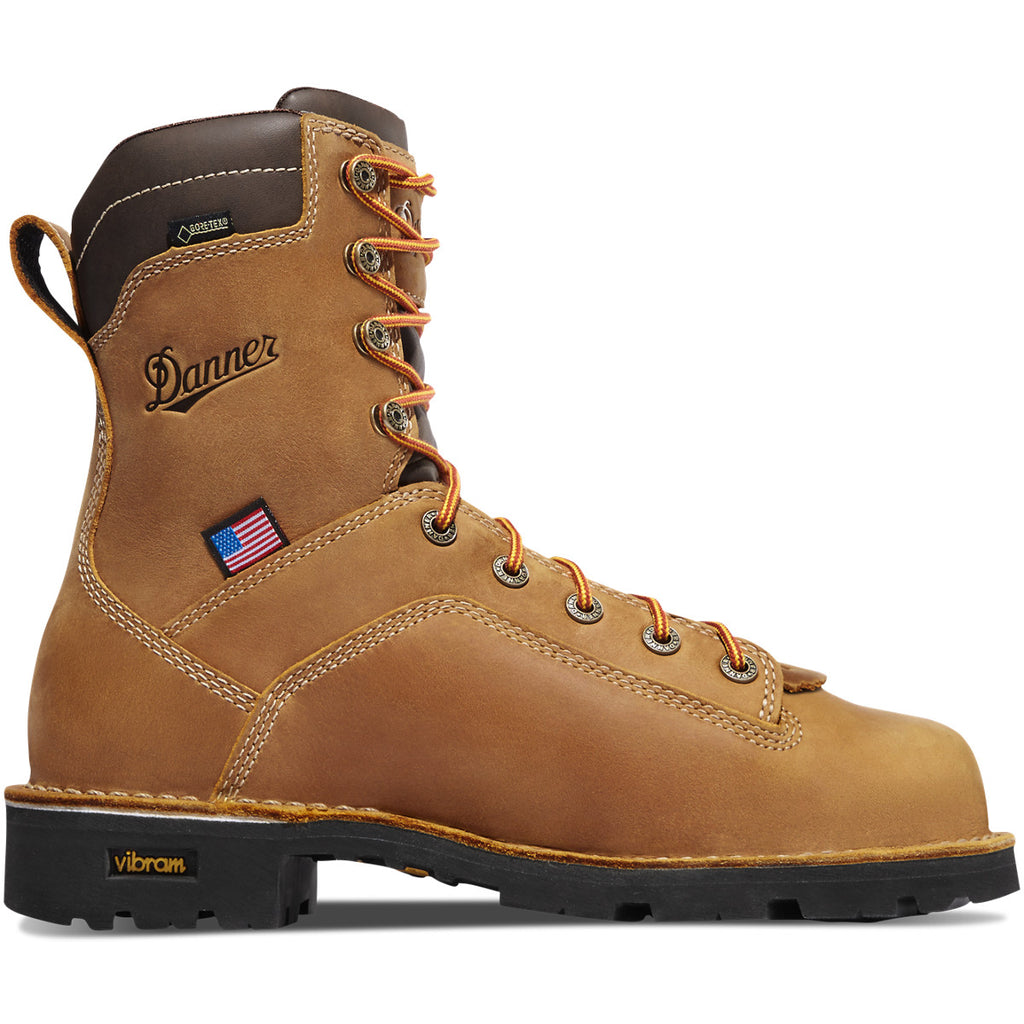 "8"" brown leather lace-up work boot with vibram sole by Danner"
