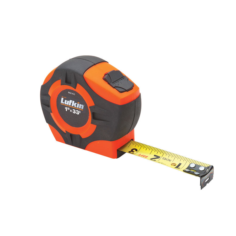 P1000 SERIES HI-VIZ TAPE MEASURES Hi-Viz orange & black case for easy finding Rubber cushion case protects from impact plus - improves grip - fits easily into most holsters