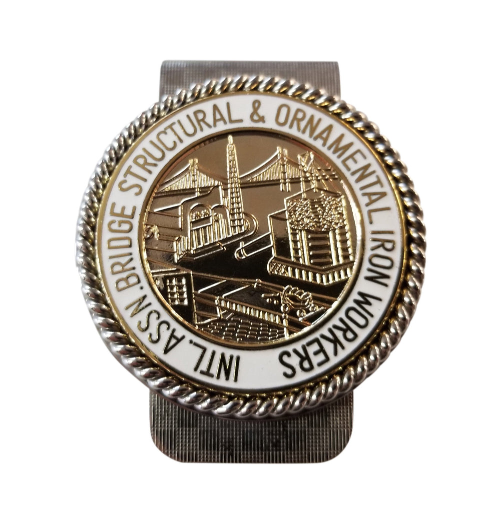 Union Ironworkers Int'l Logo in Gold Finish Money Clip #BW-MC-IWG