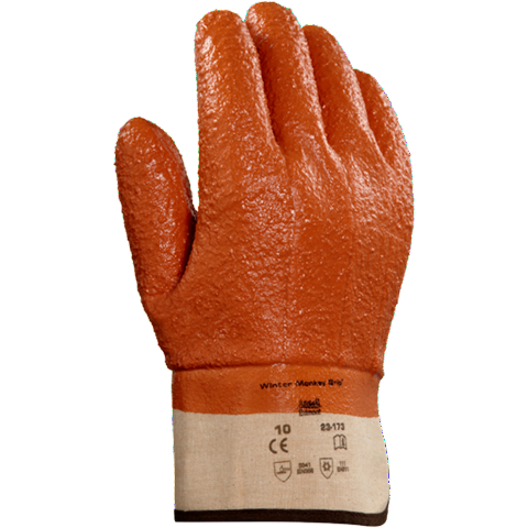 Ansell Winter Insulated Monkey Grip Vinyl Gloves #23-173