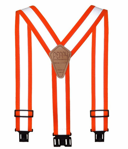 Perry Suspenders Unisex Regular Elastic Hook End Reflective Suspenders Hi Vis Orange