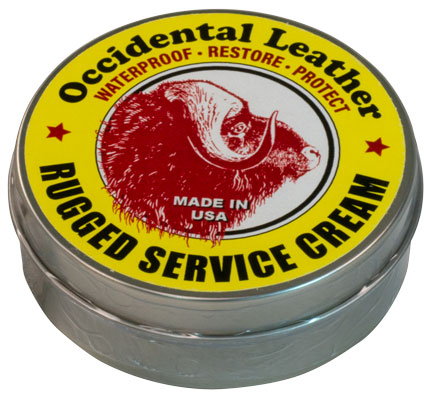 Occidental Leather Waterproof Rugged Service Cream 3850  Waterproof, Restore & Protect your Leather Tool Bags. Increase Leather Life.  This dressing coats and penetrates the fibers to inhibit oxidation, and maintains a desirable level of lubrication in the leather, allowing the fibers to bend and move for longer life.  The cream is chemically neutral, carrying no salts or harsh solvents.