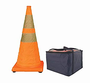 "Cortina 28"" Collapsible Traffic Cone, 4 LED Lights, Orange, Black Rubber Base, 5/Pack"