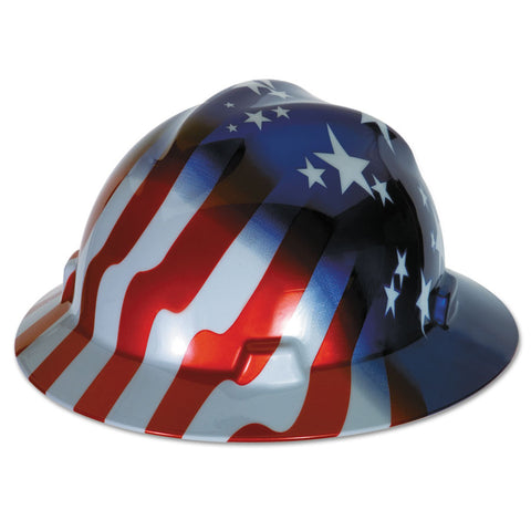 MSA V-GARD STARS & STRIPES FULL BRIM HARD HAT #10071157