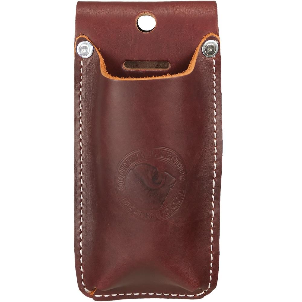 "Occidental Leather Offset Snip Holster #5527  • This leather holster Holds offset metal snips such as Wiss M6 or M7 and similar models used for steel framing also accommodates pruning shears. • Ideal for use with our 2003 Oxy™ Tool Shield. • Accepts up to a 3"" wide belt • Made in the USA"