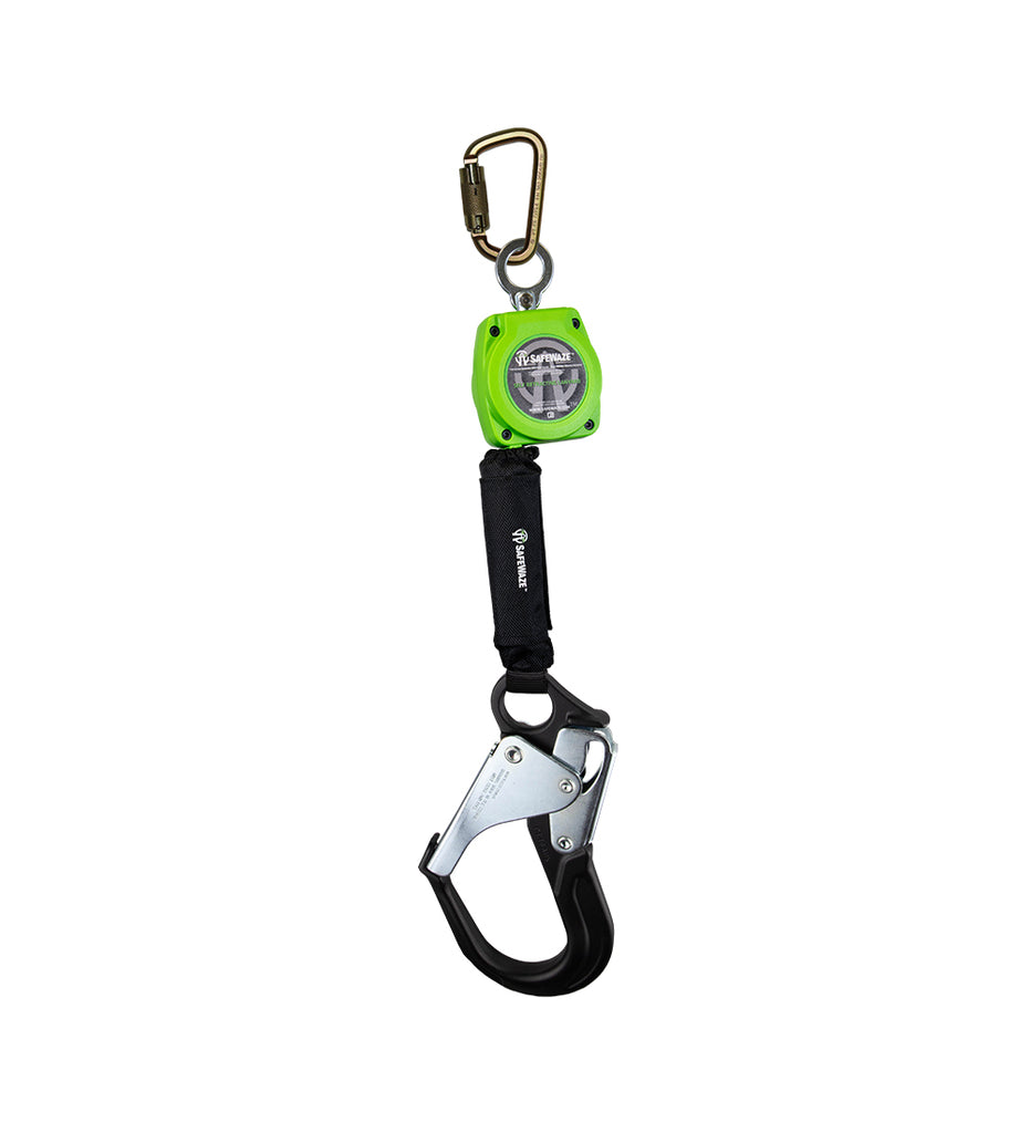 Safewaze 6' Web Retractable with Aluminum Rebar Hook & Steel Carabiner