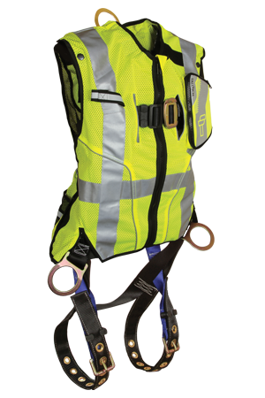 Falltech High-Vis Non-Belted Lime Vest Harness #7018 LIME