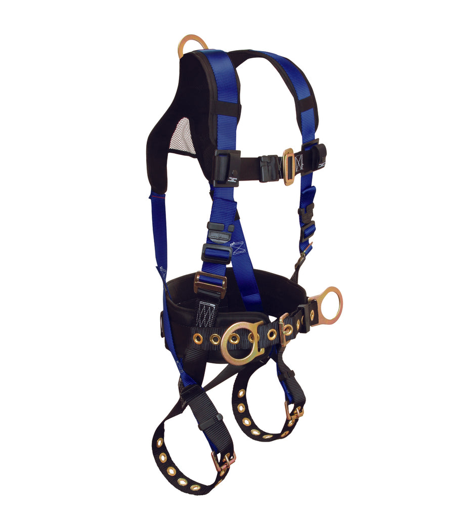 "Features:      3 D-rings, Back and Side     Tongue Buckle Legs and Mating Buckle Chest     New Lightweight Padded Mesh Shoulder and Waist     Friction, Roller-Style Adjusters     Breathable padded air mesh Shoulder Yoke with non-slip Dorsal D-ring Adjustment     Low-profile spring-tension Torso Adjusters     5"" torso-sewn Waist Support Positioning Pad for Construction Belted harnesses"