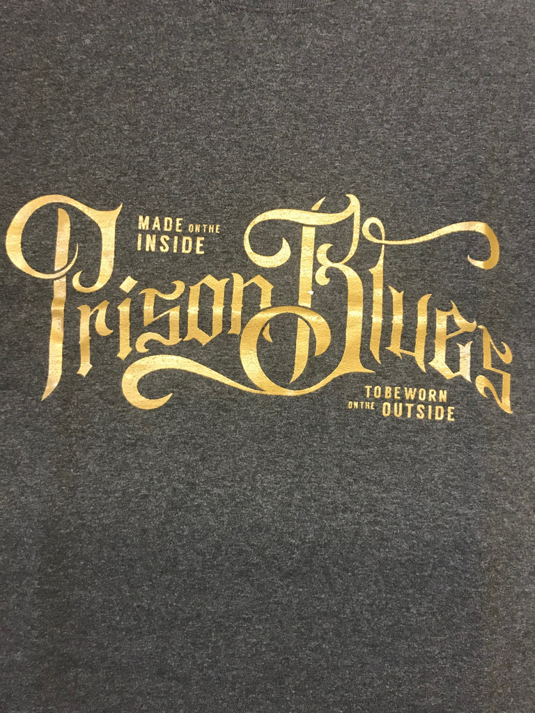 Prison Blues Metallic Script T-Shirt