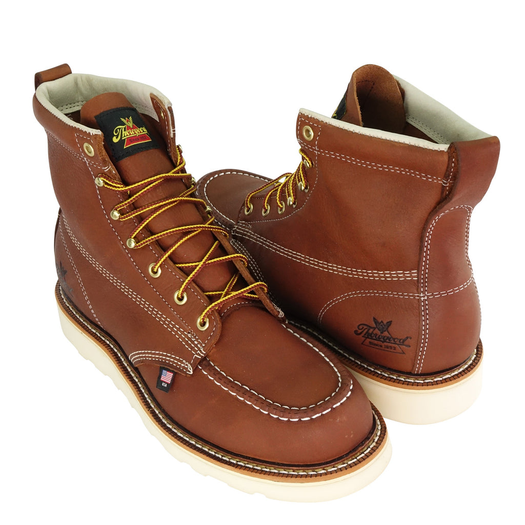 Thorogood Tobacco brown leather lace-up boots with moc toe