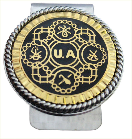 Union Pipefitters Int Logo in Black/Gold Money Clip #BW-MC-PG