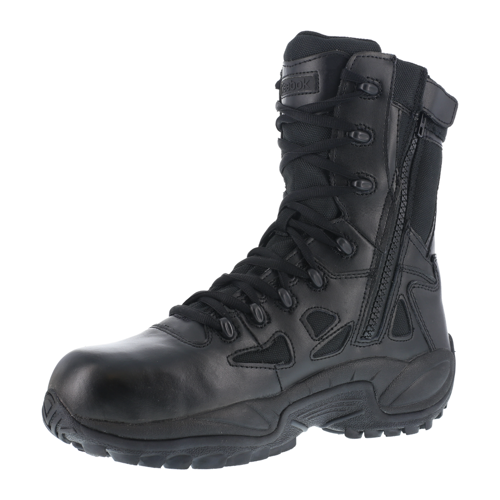"Reebok Women's Stealth 8"" Lace-Up Black Side-Zip Comp Toe Work Boots #RB874"