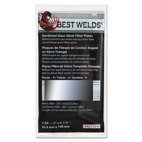 "Best Welds Hardened Glass Silver Filter Plates 2"" X 4 1/4"""