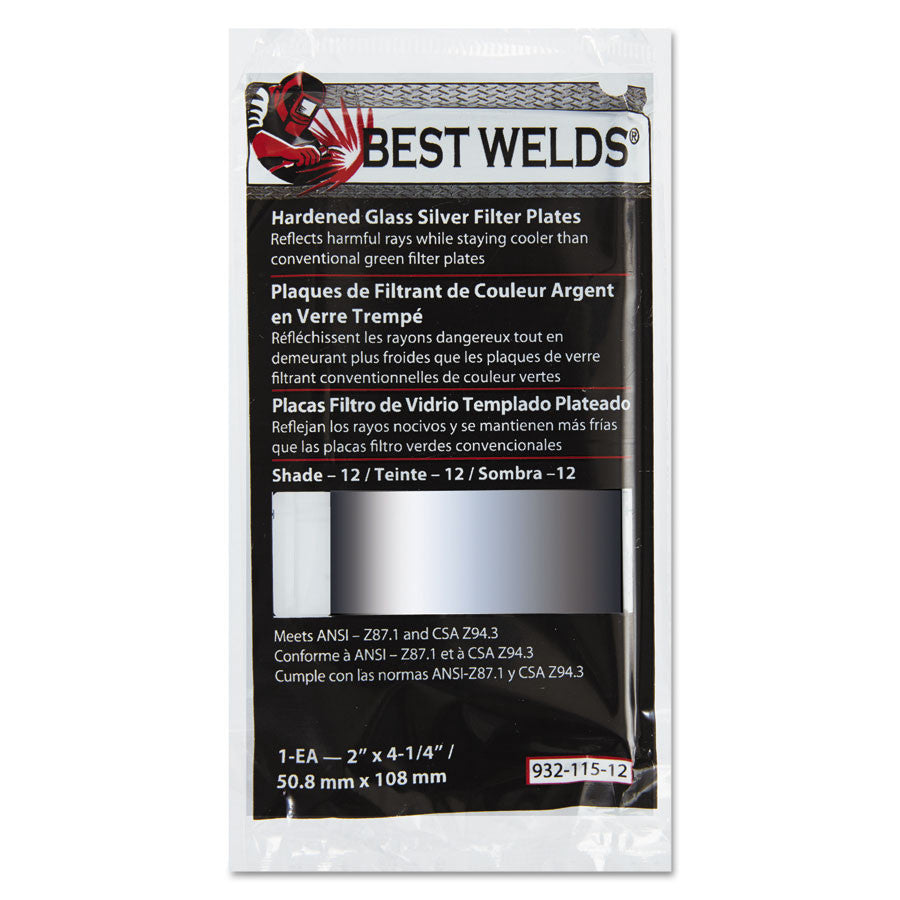"Best Welds Hardened Glass Silver Filter Plates 4 1/2"" X 5 1/4"""