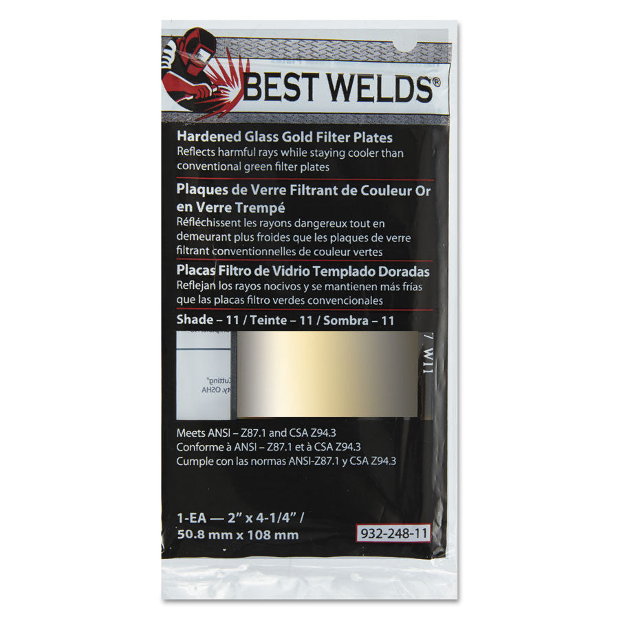 "Best Welds Hardened Glass Gold Filter Plates 2"" X 4 1/4"""