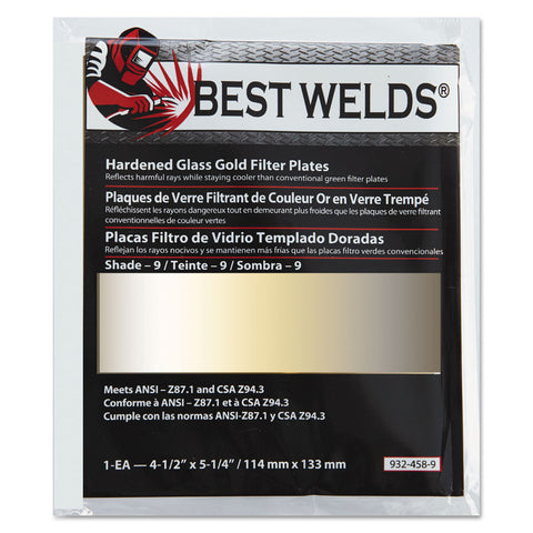 "Best Welds Hardened Glass Gold Filter Plates 4 1/2"" X 5 1/4"""