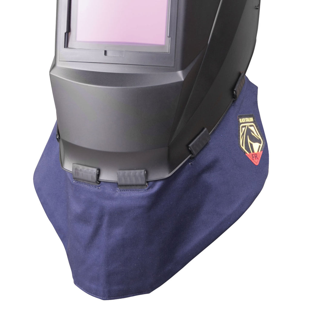 A BETTER BIB The lightweight double-layer FR cotton helmet bib features wrap-around coverage that blocks more sparks, heat, and UV rays. The extended front provides extra protection and reduces annoying chest glare.