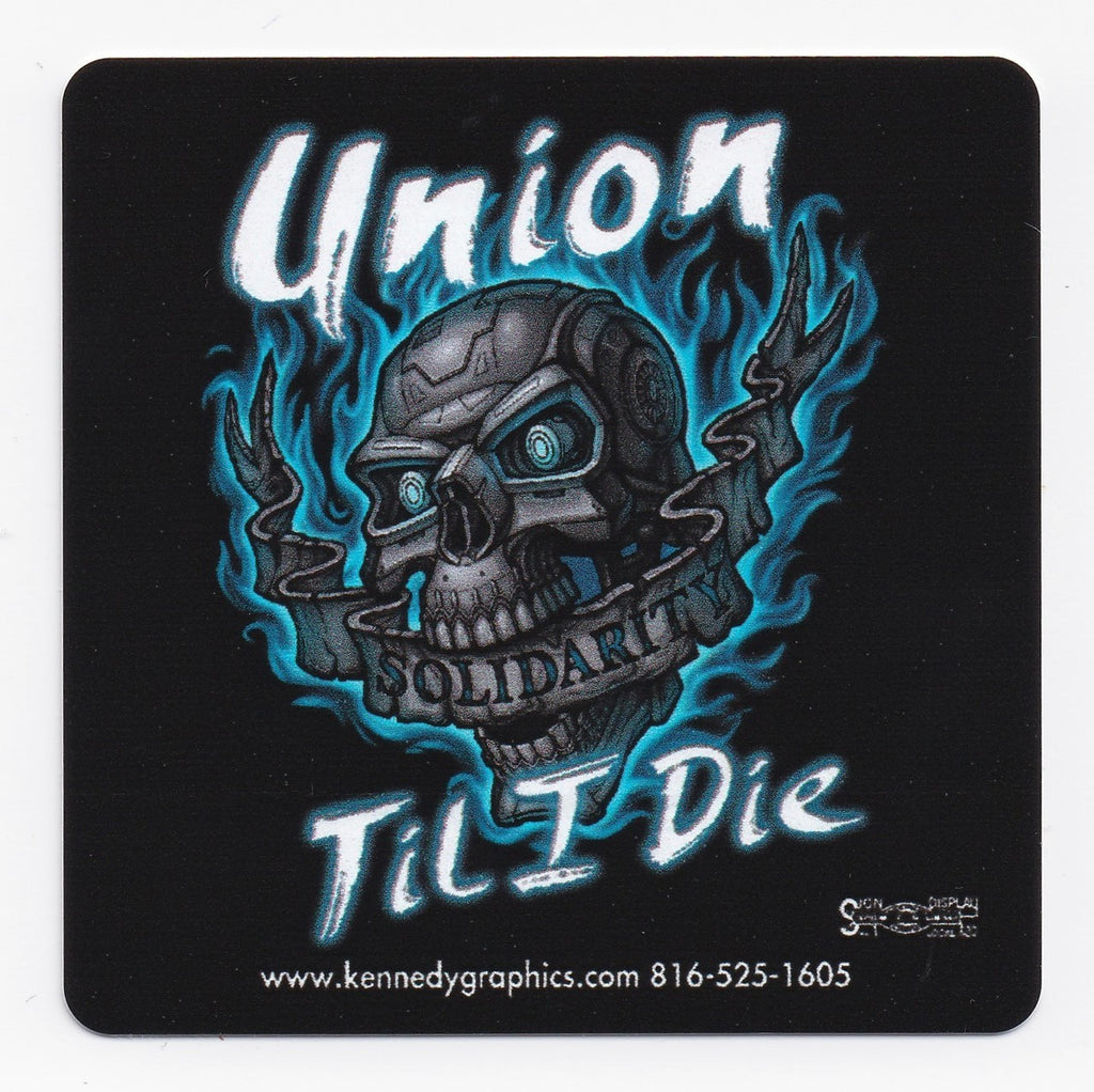 'Union Til I Die' Skull w/Blue Flames Hard Hat Sticker  S-108