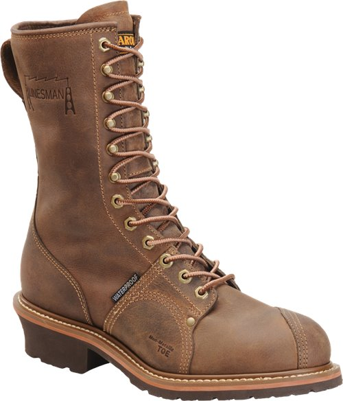 "Carolina 10"" lace up work boot brown leather with heel"