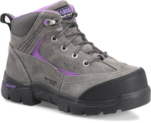 Gray work boot with purple stitching for women by Carolina Work Boots