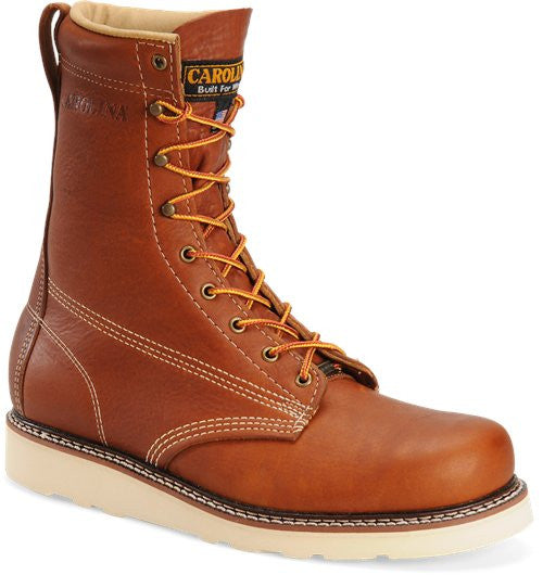 "Carolina tobacco 8"" inch lace up plain toe boot made in the USA"