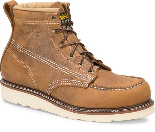 "Carolina 6"" brown leather lace up work boot with white wedge sole"