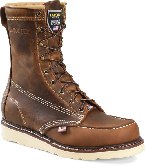 "Carolina MENS 8"" DOMESTIC MOC TOE WEDGE WORKBOOT CA8012"