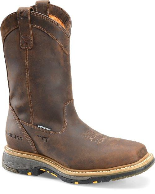 "Carolina 11"" Pull On Brown Leather Work Boot"