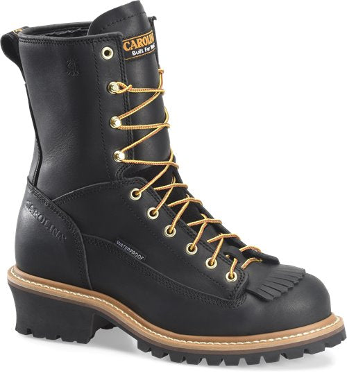 "Carolina 8"" waterproof black leather lace up logger work boot"