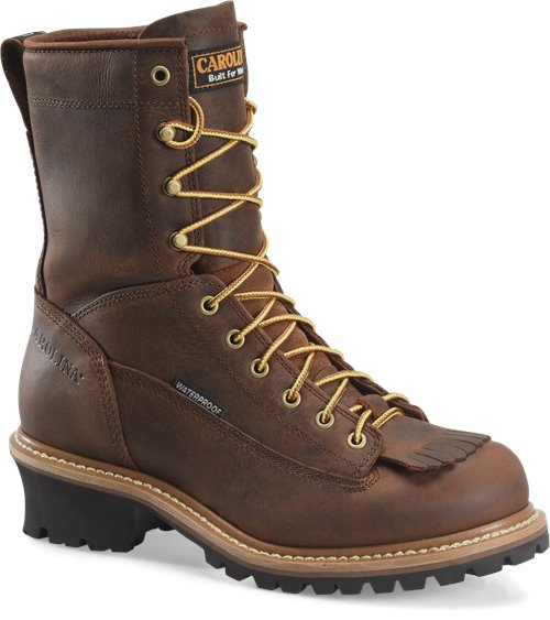 "Carolina 8"" brown leather lace up work boot logger"