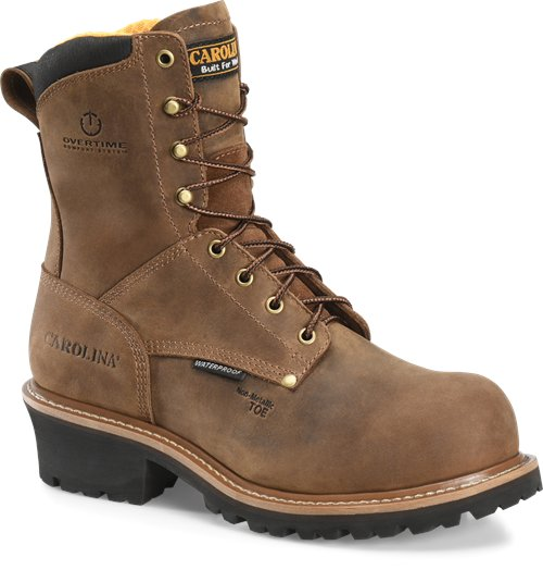 "Carolina work boot 8"" lace up waterproof logger boot"