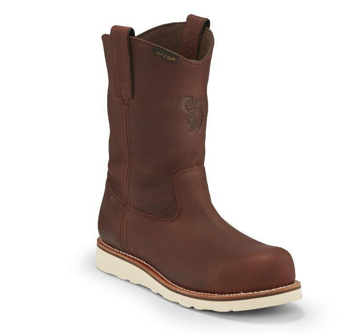 Chippewa wedge sole pull on brown leather boot