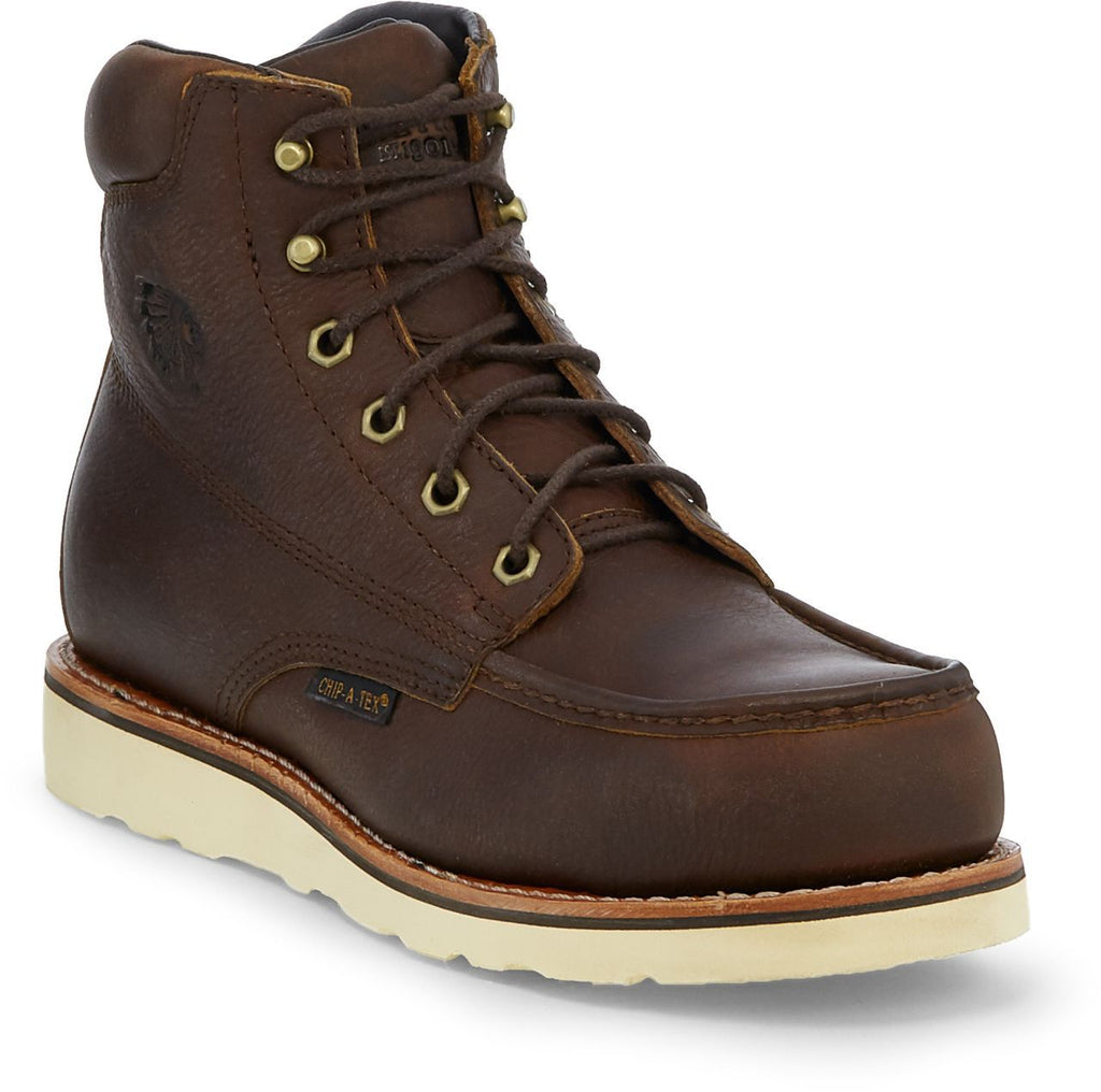 "Chippewa 6"" brown leather lace up work boot with white wedge sole"