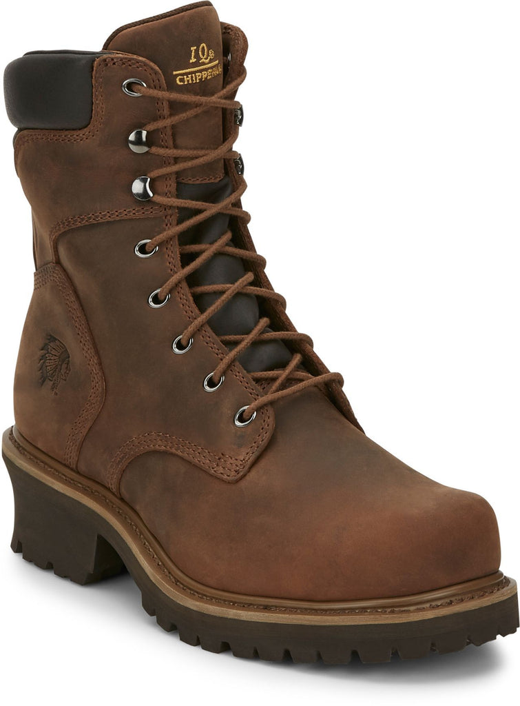 "Chippewa 8"" brown leather lace up logger work boot"